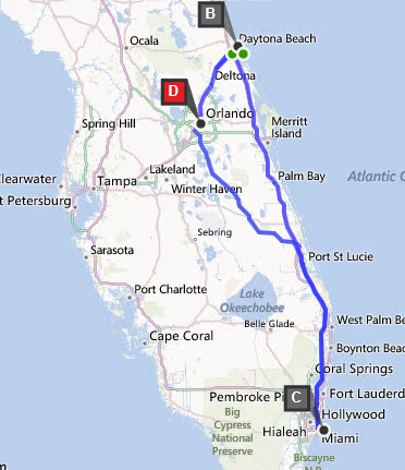 Crazy Driving One Day Trip From Orlando To Daytona Beach To Miami To